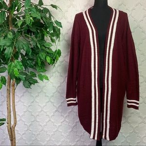 Red Maroon Open Front Varsity Stripe Cardigan